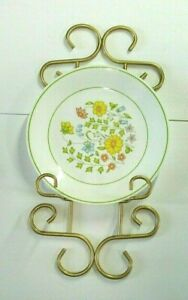 vtg  Wrought Iron single Plate display Rack wall hanging gold tone scroll design