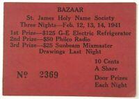 1941 St. James Holy Name Society Bazaar Johnson City New York NY Raffle Ticket