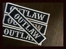 """""""OUTLAW"""" 1x4 EMBROIDERED MC PATCHES MOTORCYCLE NAME BADGE TITLE SONS OF USA 4 PK"""