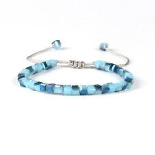 Glasperlen Makrame Armband blau Aqua Kristall Glas verstellbar eckig Perlen Mode