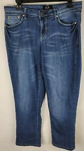 Earl Jeans Size 10 Blue Rhinestones Embellished Embroidered Tapered Leg Jeans