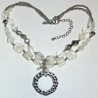 Signed Chico's white clear glass, acrylic beads double strand pendant necklace
