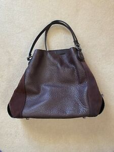 Coach Purple Leather & Suede Hobo Shoulder Bag