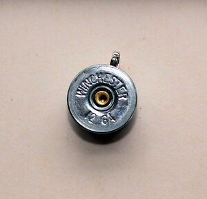 12 Gge Winchester Shotgun Shell Brass Bullet Head Pendant Nickel Silver Color