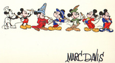 DISNEY MICKEY MOUSE THROUGH THE YEARS ETCHING 396/500 SIGNED MARC DAVIS COA