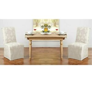 2 Brand New IVORY Autumn Medley Damask Chair Covers for Dining Room Chairs