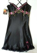Coemi Women 12 14 Silk Satin Black Chemise Designer Lingerie Nightwear