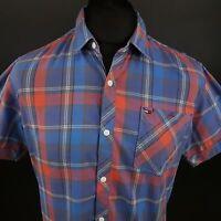 Tommy Hilfiger Mens Shirt MEDIUM Short Sleeve Blue Regular Fit Check Cotton