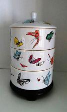 Unique Asain Porcelain 3-Stack Trinket Box Wood Pedestal Base Butterflies 1960s