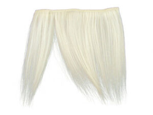 CLIP-IN HUMAN HAIR FRINGE BANGS CYBERLOX SNOW WHITE UNCUT 8""