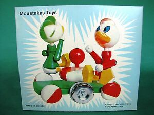 Moustakas Vintage Wooden Disney Figures Donald Duck Huey Dewey Louie Pull Toy
