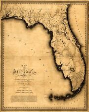 """MAP State of FLORIDA Vintage by Charles Vignoles circa 1823 24"""" x 30"""""""