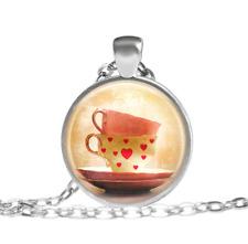 Cute Tea Cups Alice In Wonderland Tibet silver pendant chain Necklace