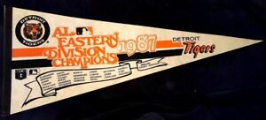 DETROIT TIGERS Pennant 1987 AL East Champions Roster Scroll Trammell Whitaker