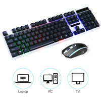 NEW Gaming Keyboard Mouse Set Rainbow LED Wired USB For PC Laptop PS4 Slim Xbox