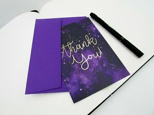 Thank You Purple Galaxy Postcards, Gratitude Cards To Send To Your Friends, Than