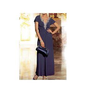 WOMAN'S NEW MIDNIGHT BLUE DIAMANTE V NECK WEDDING PARTY MAXI DRESS SIZE 16