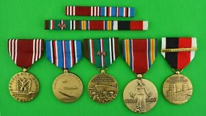 5 WWII Medals, Ribbon Bars, Good Conduct, European, German Occupation   2 STAR