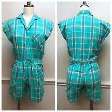 Romper Play Suit Vintage 1990s Green Plaid Pinnacle Shorts Button Up Shirt 90s