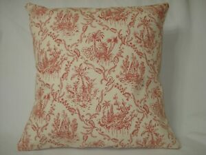 """Red Toile Palm Trees Decorative Accent Throw Pillow Cover 14""""x14"""""""