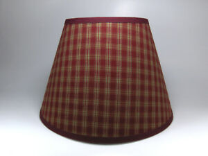 Primitive Country Sturbridge Burgundy Plaid Homespun Fabric Washer Top Lampshade