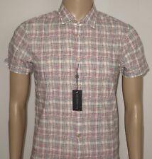 Red /& Grey Reversible Plaid Shirt RRP £195.00 JOHN VARVATOS 100/% Cotton Navy
