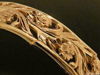 G14 Genuine 9ct Solid Rose Gold Bangle 13mm Wide Filigree Blossom Floral 63mm