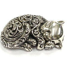 SMALL VICTORIAN STYLE SLEEPING CAT FIGURINE 925 STERLING SILVER HALLMARKED