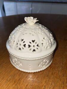Vintage Hartley Greens & Co Leeds Pottery Creamware Lidded Pot Pourri Trinket