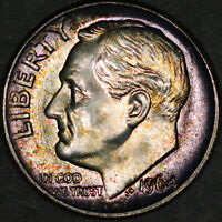 1964 Roosevelt Dime 10C - Gem Uncirculated - Colorful Toning