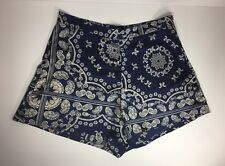 NORDSTROM MISSGUIDED Navy Blue Ivory Paisley Shorts Womens Size 10