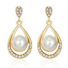 Vintage Style White Pearl Pear Tear Gold Yellow Bridal Drop Stud Earrings E1324