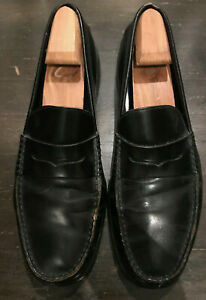 TODS MENS CLASSIC BLACK LEATHER PENNY LOAFERS SHOES SZ 10.5