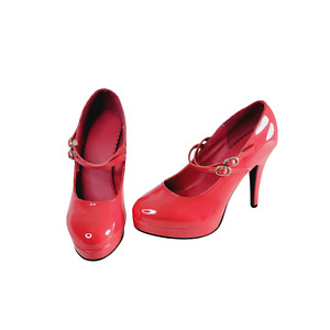 Red Pleather Pumps Size 5/6 Double Strap Mary Jane Style Halloween Costume
