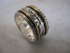12mm Wide Wedding Ring Band, Sterling Silver and Gold I am my beloved's Original