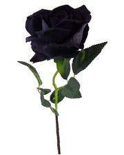 Black Rose Velvet Real Touch Single Stem Fake Large Rose Flower Decoration 52cm