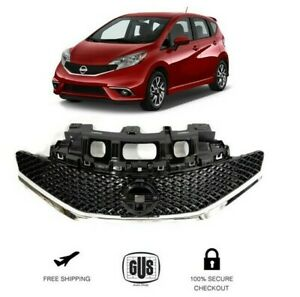 FRONT GRILL SR STYLE FITS 2014 2016 NISSAN VERSA NOTE BLACK CHROME GRILLE