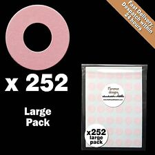 252 x Pale Pink hang tag ring/round/hole punched reinforcement stickers/labels
