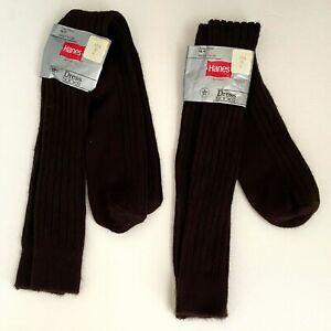 "Vintage Hanes Red Label Brown HM-13 Dress Socks USA 10-13 Acrylic NOS 18"" Long"