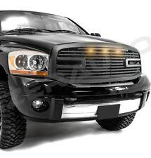 Big Horn+3x LED Matte Black Packaged Grille+Shell for 06-08 Dodge Ram 1500+2500+