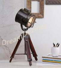 Colonial Vintage Style Tripod Table Lamp Natural L Dark Wood Legs NEW