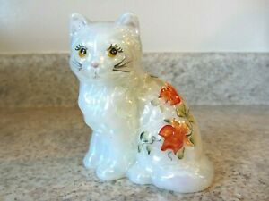 "Mosser Glass Hand Painted ""Bittersweet"" Cat, White Iridescent, Signed by Artist"