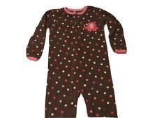 Carters Girls Footed Pajamas Super Comfy Elephant Polka Dots Fleece Brown Sz 5T