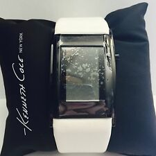 Kenneth Cole Women's 45% OFF Black Stainless Steel Watch, White Leather, KC1340
