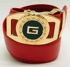 Correas Cinturones de Piel Moderno Sin Hoyos Hombres Moda Caballeros Rojo Belts