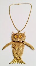 Articulated Owl Pendant Chain Necklace Giant Chunky 1970's Signed Nolan Miller