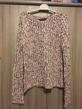 Dorothy Perkins Pink & White Chunky Loose Knit Jumper  - Size 8