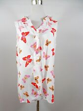 Womens Vtg Summer Butterfly Ruff Frill Casual Sleeveless Blouse Shirt sz 14 BE67
