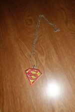 SUPERMAN LOGO PENDANT NECKLACE WITH RHINESTONES AND A 10 INCH CHAIN