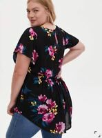 NEW Torrid Size12 (Large) or 1X Babydoll Tunic TOP Black Floral Swing Hem $46